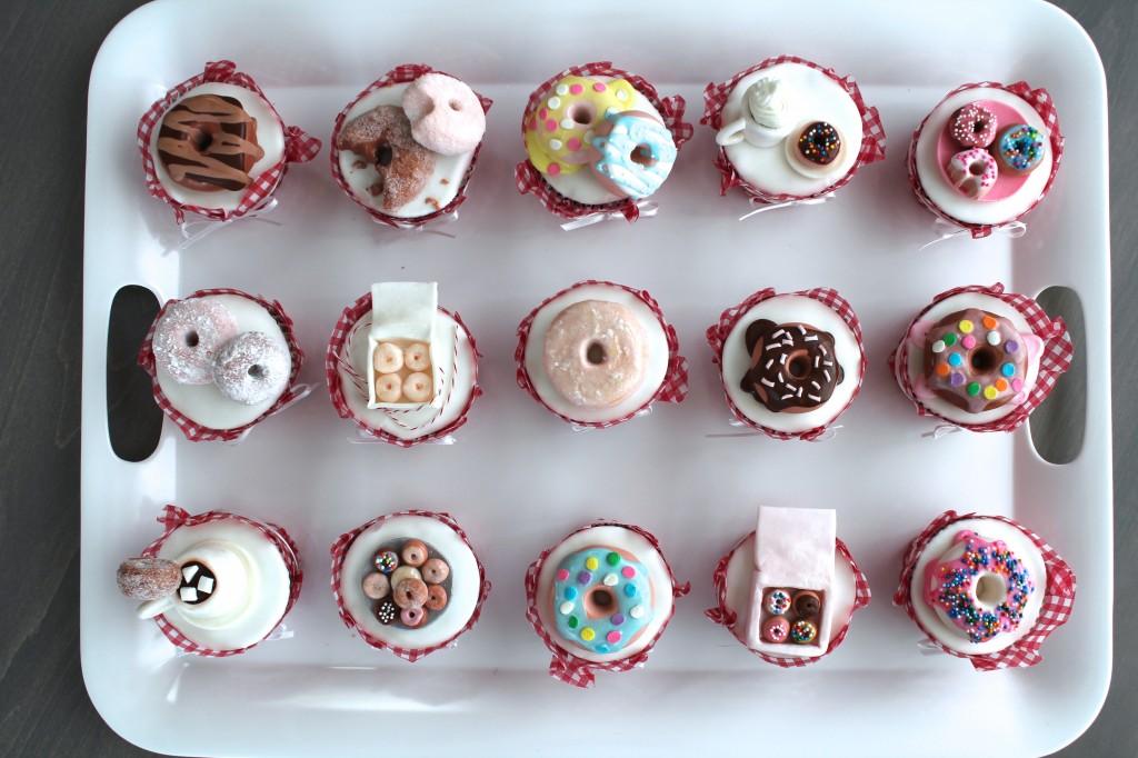 fondant doughnut topped cupcakes