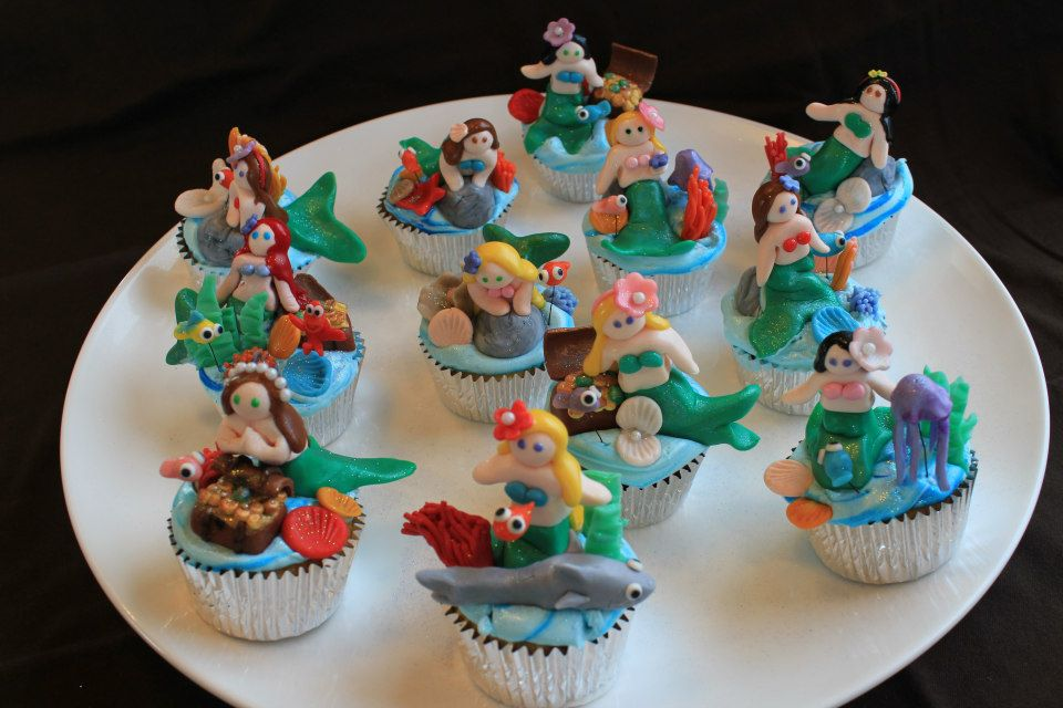 fondant The Little Mermaid cupcakes